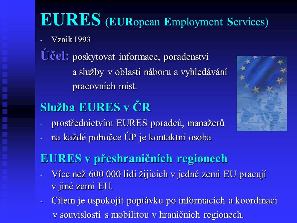 EURES (EURopean Employment Services) - Vznik 1993 Účel: poskytovat informace, poradenství a služby v oblasti náboru a vyhledávání a služby v oblasti n
