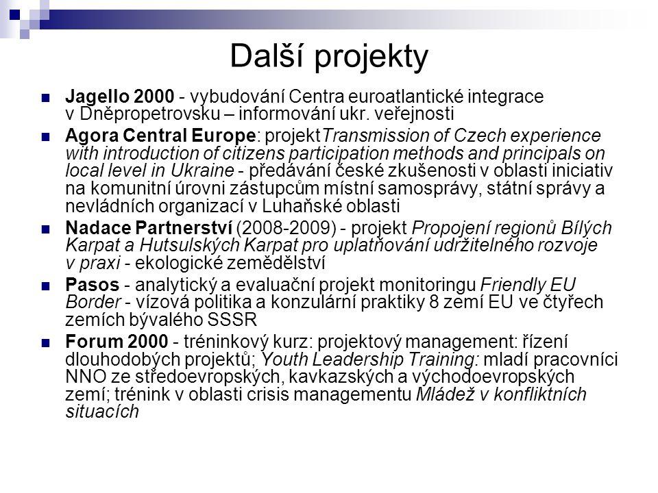 Další projekty Jagello 2000 - vybudování Centra euroatlantické integrace v Dněpropetrovsku – informování ukr.