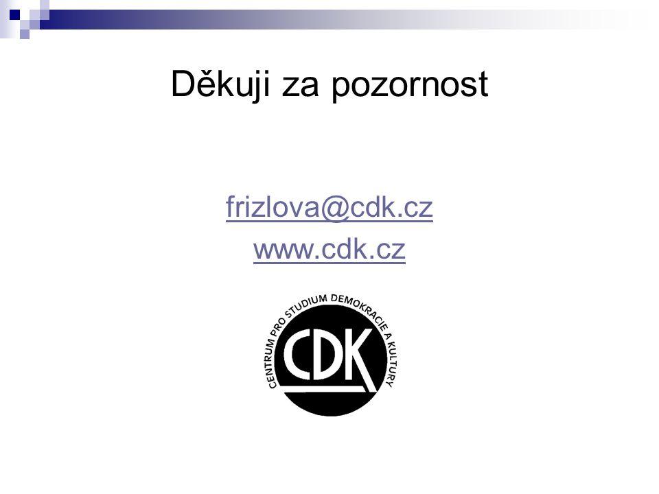 Děkuji za pozornost frizlova@cdk.cz www.cdk.cz
