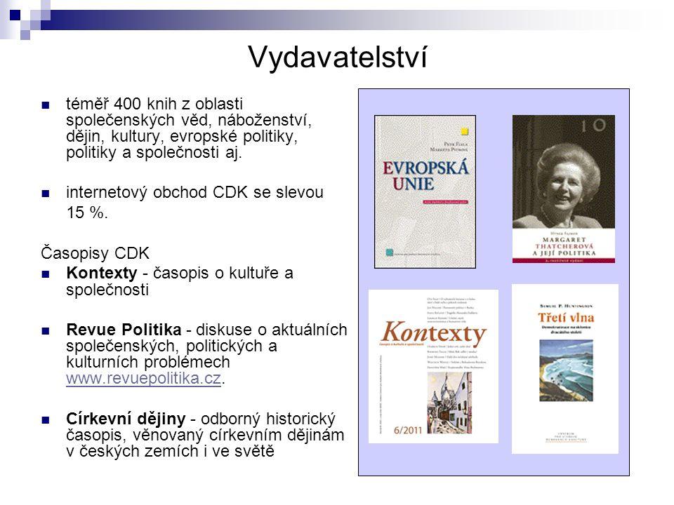 Vydavatelství téměř 400 knih z oblasti společenských věd, náboženství, dějin, kultury, evropské politiky, politiky a společnosti aj.