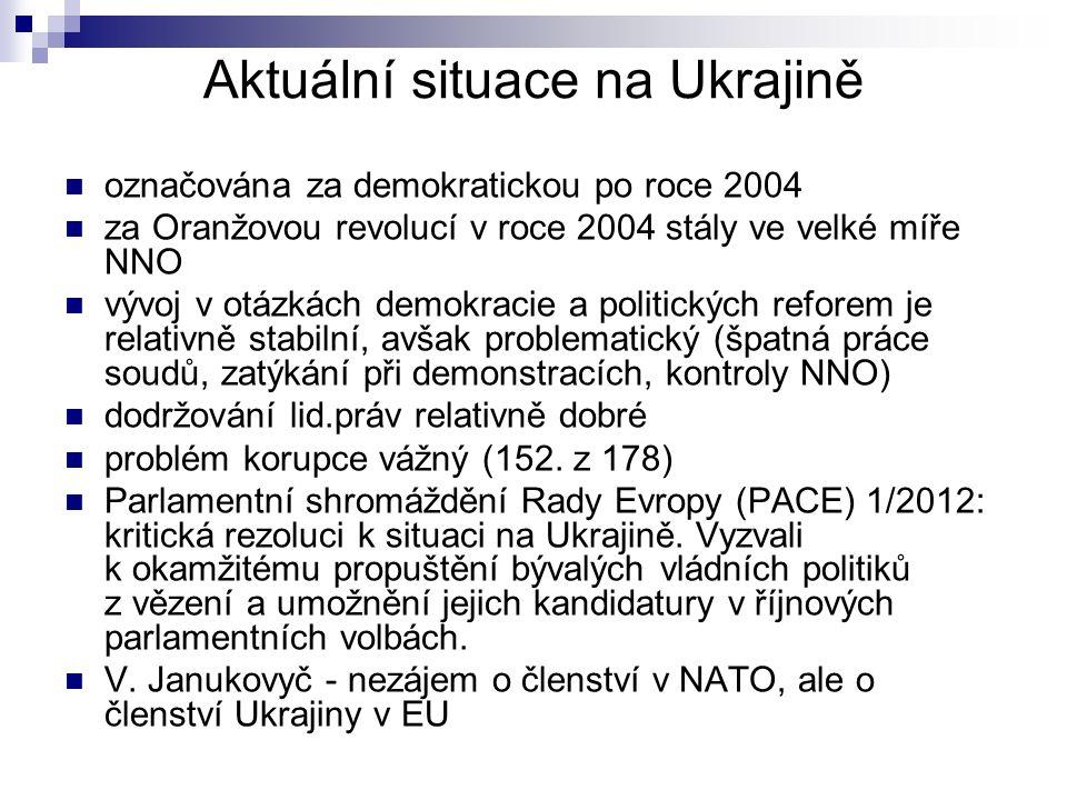 Aktuální situace na Ukrajině označována za demokratickou po roce 2004 za Oranžovou revolucí v roce 2004 stály ve velké míře NNO vývoj v otázkách demokracie a politických reforem je relativně stabilní, avšak problematický (špatná práce soudů, zatýkání při demonstracích, kontroly NNO) dodržování lid.práv relativně dobré problém korupce vážný (152.
