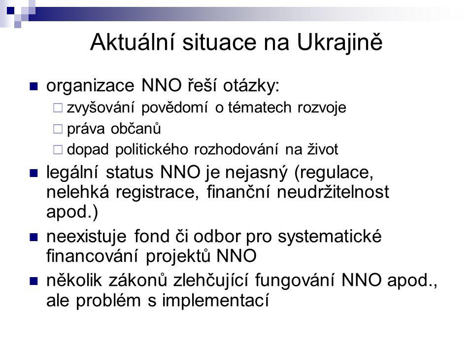 Aktuální situace na Ukrajině organizace NNO řeší otázky:  zvyšování povědomí o tématech rozvoje  práva občanů  dopad politického rozhodování na život legální status NNO je nejasný (regulace, nelehká registrace, finanční neudržitelnost apod.) neexistuje fond či odbor pro systematické financování projektů NNO několik zákonů zlehčující fungování NNO apod., ale problém s implementací