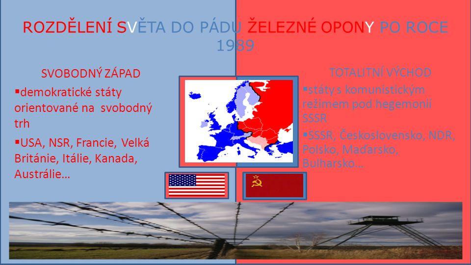 ROZDĚLENÍ SVĚTA DO PÁDU ŽELEZNÉ OPONY PO ROCE 1989 SVOBODNÝ ZÁPAD  demokratické státy orientované na svobodný trh  USA, NSR, Francie, Velká Británie