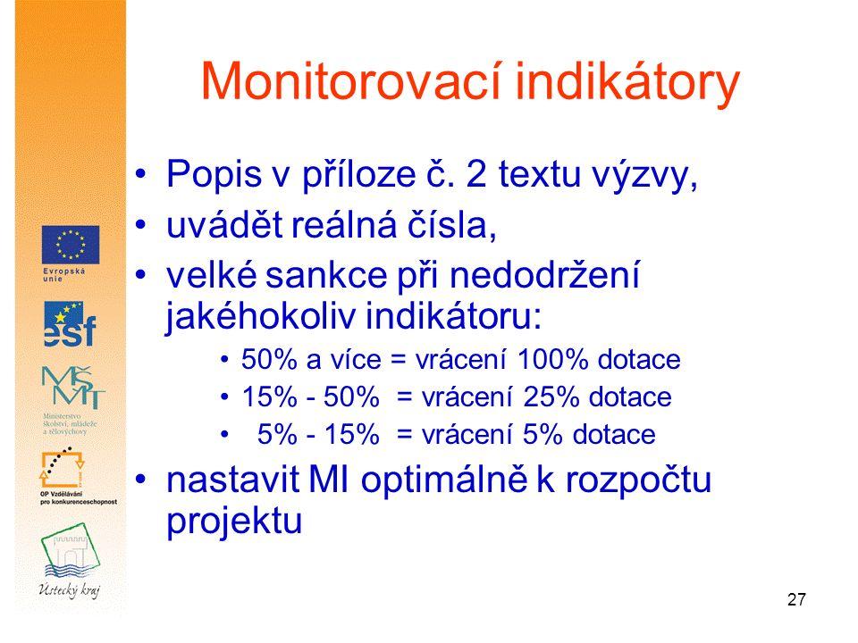 27 Monitorovací indikátory Popis v příloze č.