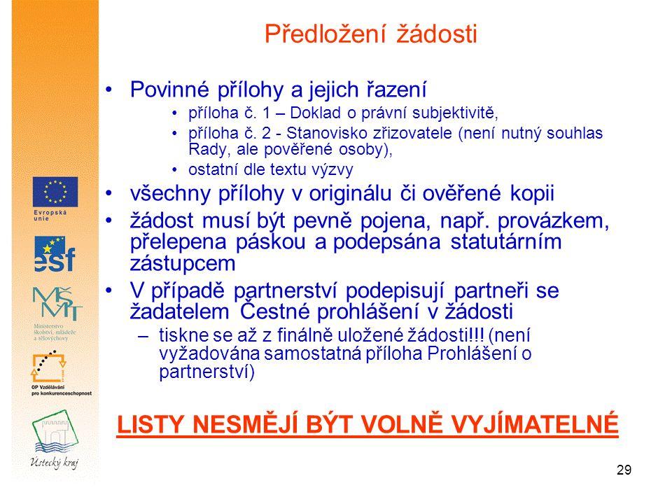 29 Povinné přílohy a jejich řazení příloha č. 1 – Doklad o právní subjektivitě, příloha č.