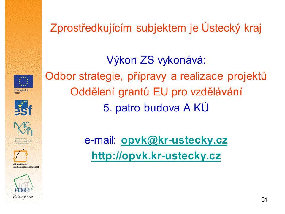 31 Zprostředkujícím subjektem je Ústecký kraj Výkon ZS vykonává: Odbor strategie, přípravy a realizace projektů Oddělení grantů EU pro vzdělávání 5.