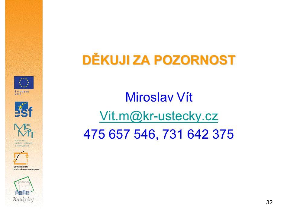 32 DĚKUJI ZA POZORNOST Miroslav Vít Vit.m@kr-ustecky.cz 475 657 546, 731 642 375