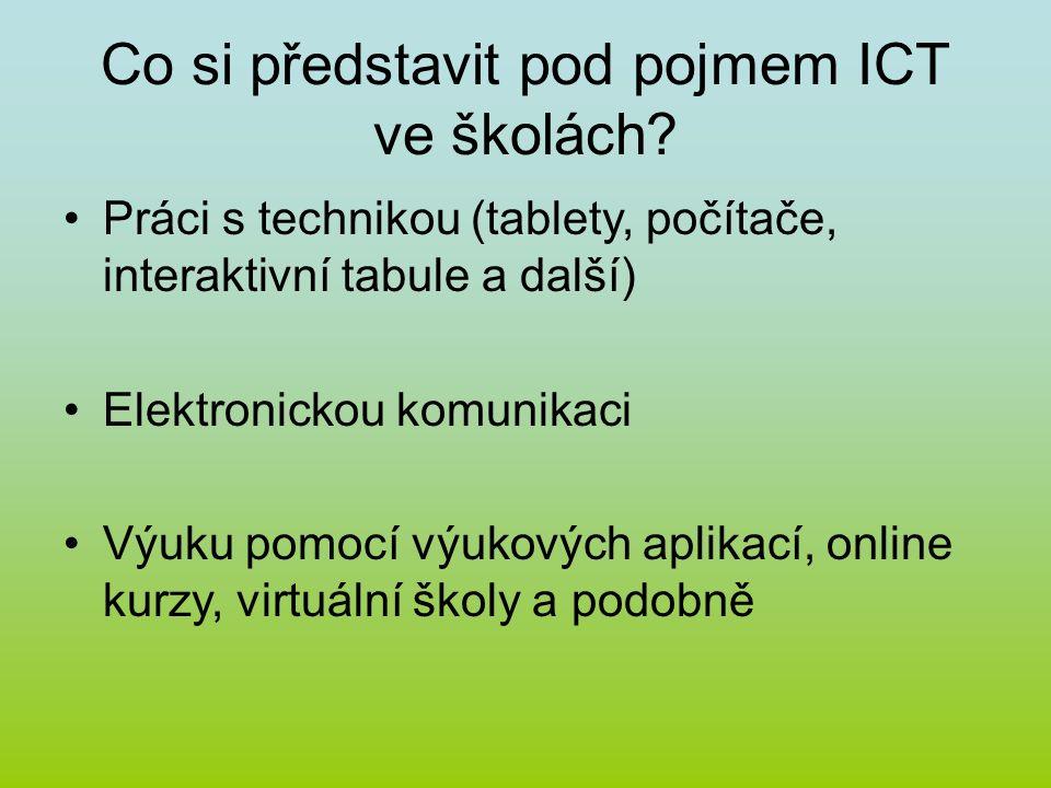 Co si představit pod pojmem ICT ve školách? Práci s technikou (tablety, počítače, interaktivní tabule a další) Elektronickou komunikaci Výuku pomocí v