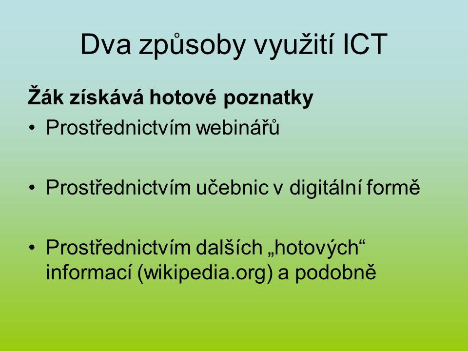 """Dva způsoby využití ICT Žák získává hotové poznatky Prostřednictvím webinářů Prostřednictvím učebnic v digitální formě Prostřednictvím dalších """"hotových informací (wikipedia.org) a podobně"""