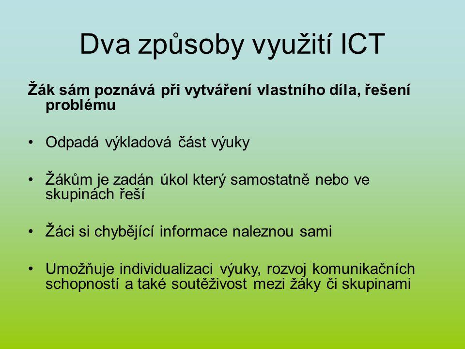 Dva způsoby využití ICT Žák sám poznává při vytváření vlastního díla, řešení problému Odpadá výkladová část výuky Žákům je zadán úkol který samostatně