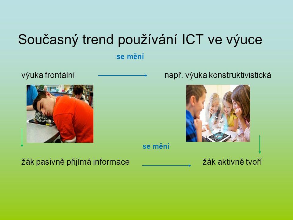 Současný trend používání ICT ve výuce se mění výuka frontální např. výuka konstruktivistická se mění žák pasivně přijímá informace žák aktivně tvoří