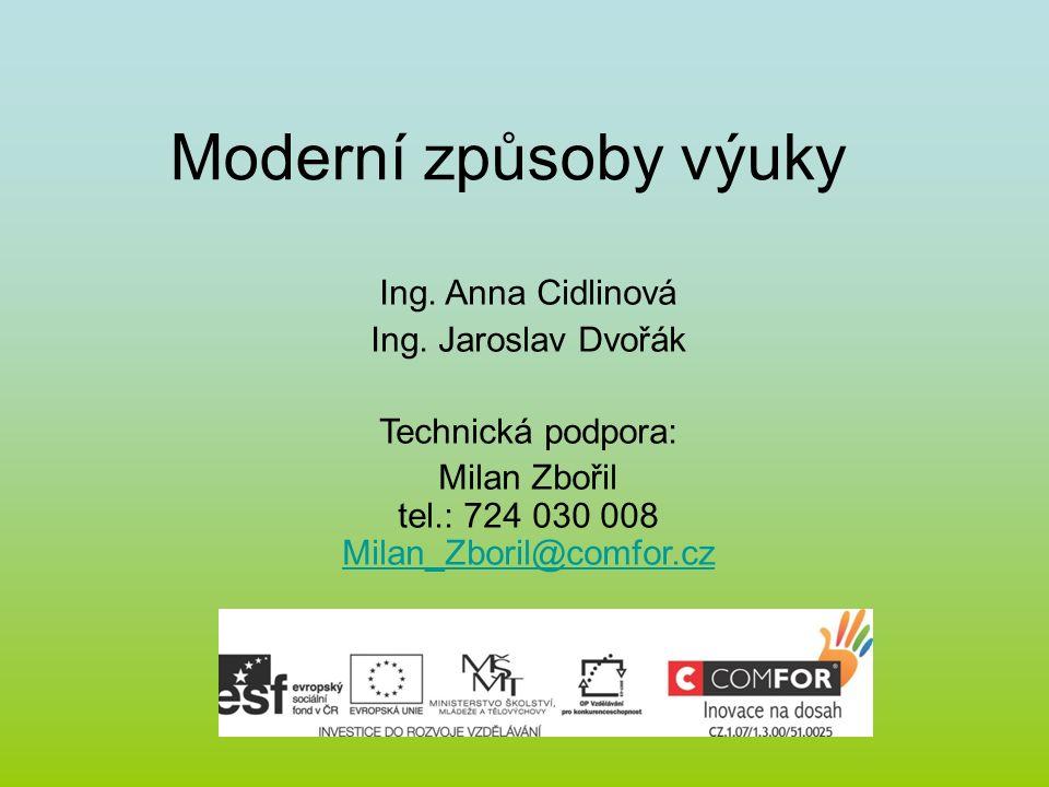 Moderní způsoby výuky Ing.Anna Cidlinová Ing.