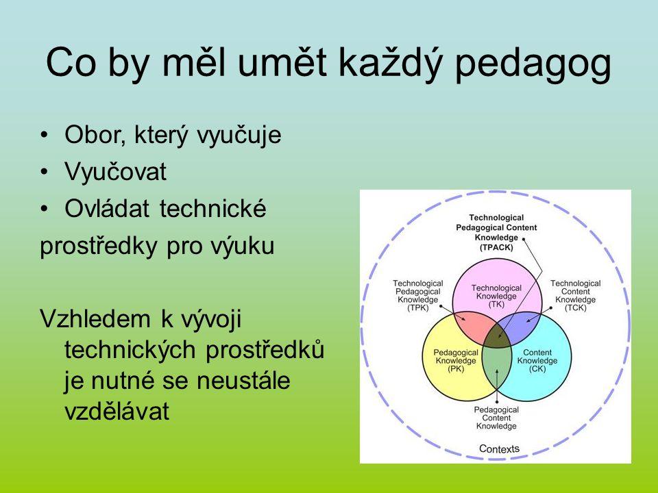 Co by měl umět každý pedagog Obor, který vyučuje Vyučovat Ovládat technické prostředky pro výuku Vzhledem k vývoji technických prostředků je nutné se