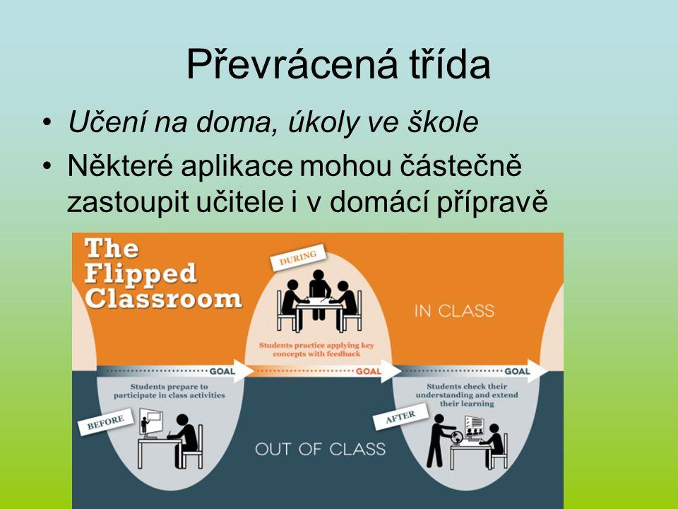 Převrácená třída Učení na doma, úkoly ve škole Některé aplikace mohou částečně zastoupit učitele i v domácí přípravě