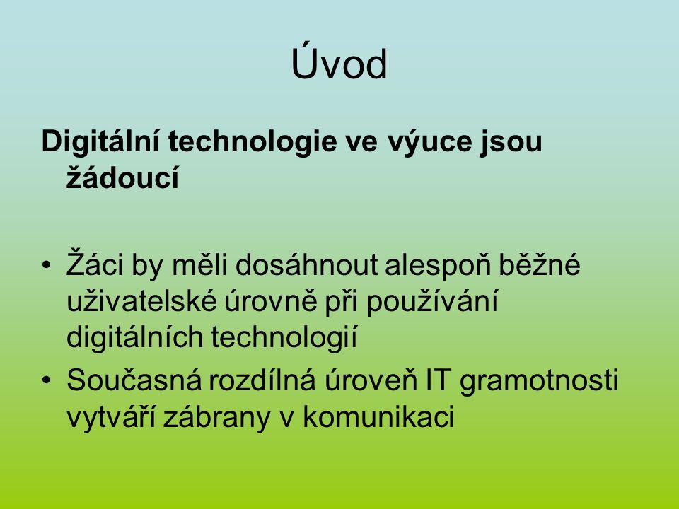 Úvod Digitální technologie ve výuce jsou žádoucí Žáci by měli dosáhnout alespoň běžné uživatelské úrovně při používání digitálních technologií Současná rozdílná úroveň IT gramotnosti vytváří zábrany v komunikaci