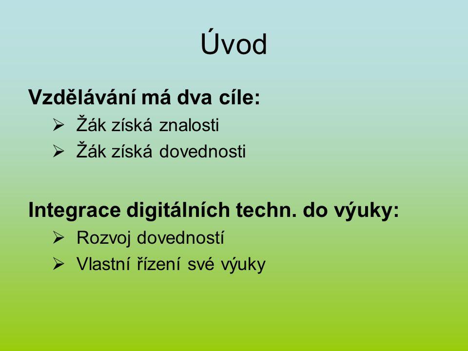 Úvod Vzdělávání má dva cíle:  Žák získá znalosti  Žák získá dovednosti Integrace digitálních techn. do výuky:  Rozvoj dovedností  Vlastní řízení s