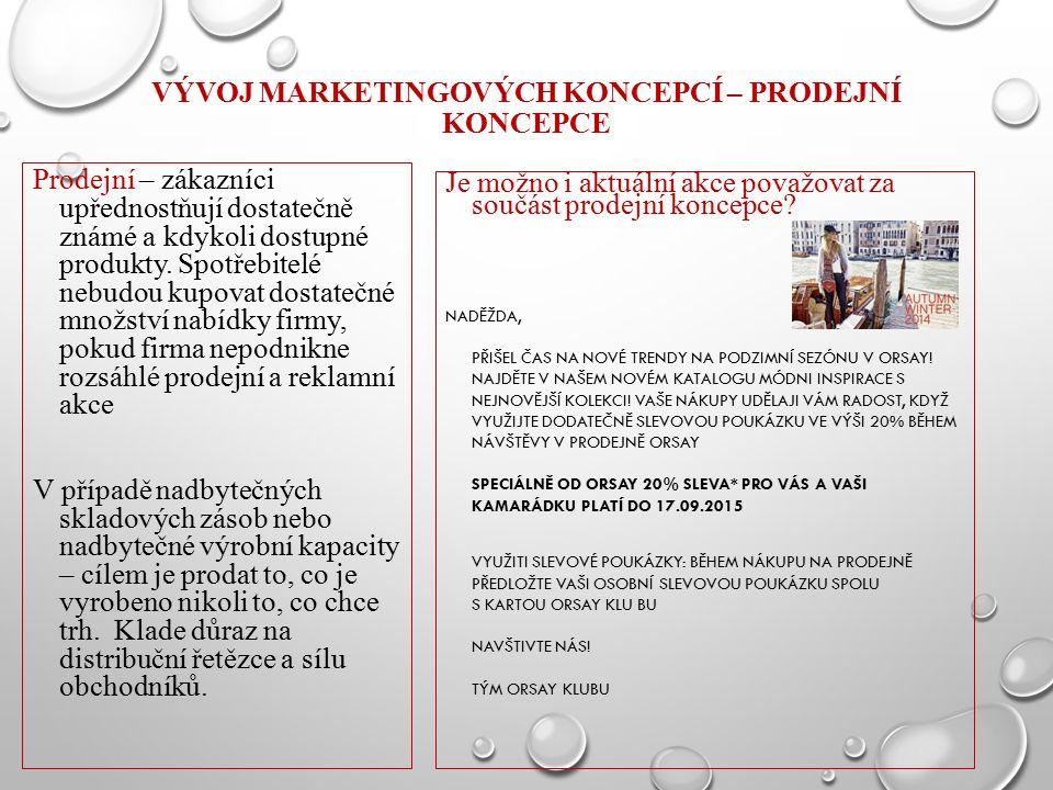 VÝVOJ MARKETINGOVÝCH KONCEPCÍ – PRODEJNÍ KONCEPCE Prodejní – zákazníci upřednostňují dostatečně známé a kdykoli dostupné produkty. Spotřebitelé nebudo
