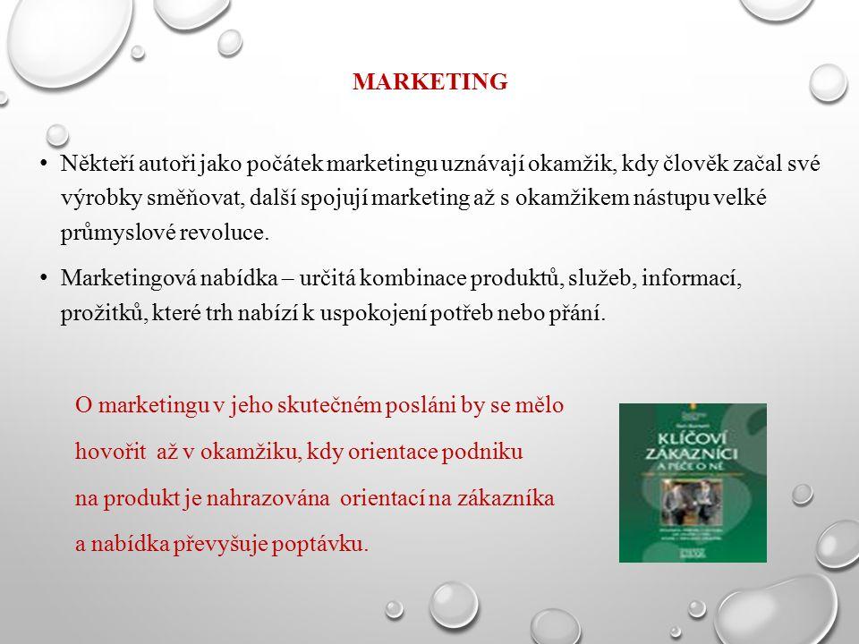MARKETING Někteří autoři jako počátek marketingu uznávají okamžik, kdy člověk začal své výrobky směňovat, další spojují marketing až s okamžikem nástu
