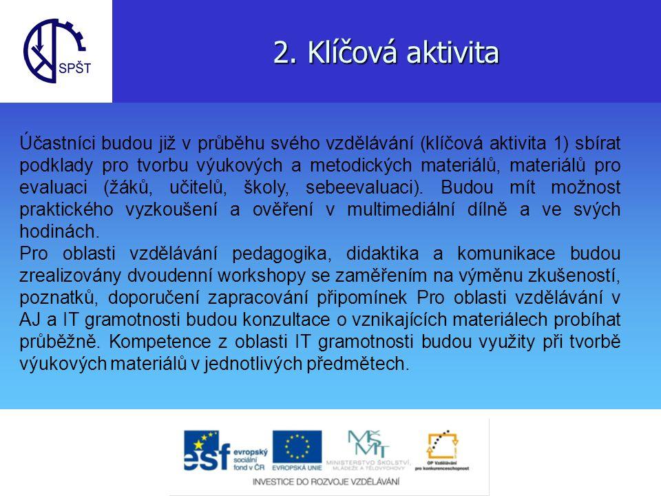 2. Klíčová aktivita Účastníci budou již v průběhu svého vzdělávání (klíčová aktivita 1) sbírat podklady pro tvorbu výukových a metodických materiálů,