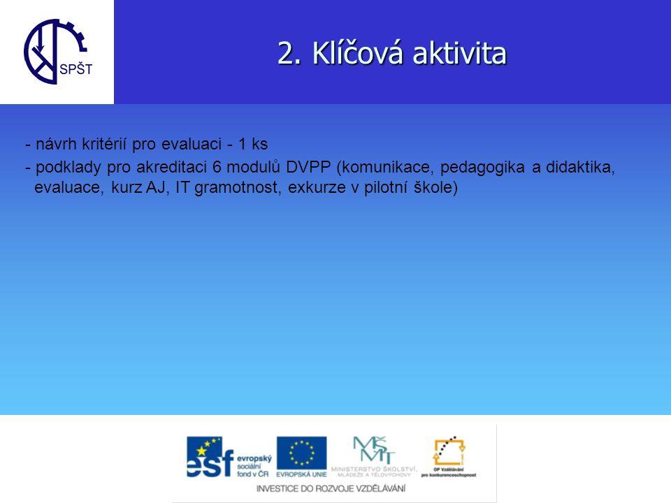 2. Klíčová aktivita - návrh kritérií pro evaluaci - 1 ks - podklady pro akreditaci 6 modulů DVPP (komunikace, pedagogika a didaktika, evaluace, kurz A