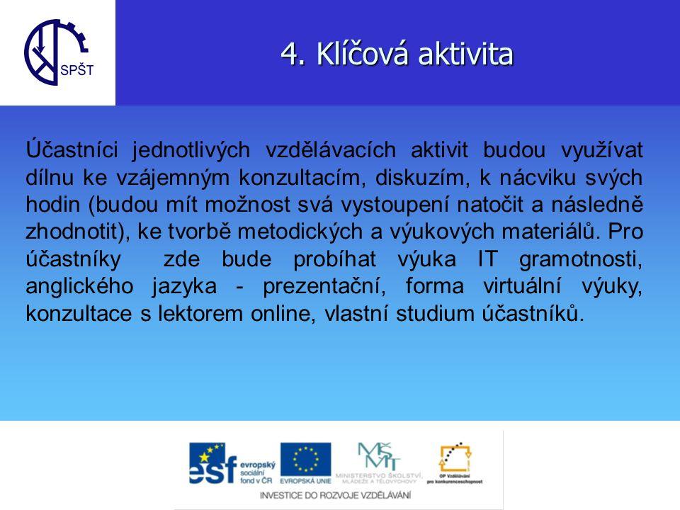 4. Klíčová aktivita Účastníci jednotlivých vzdělávacích aktivit budou využívat dílnu ke vzájemným konzultacím, diskuzím, k nácviku svých hodin (budou