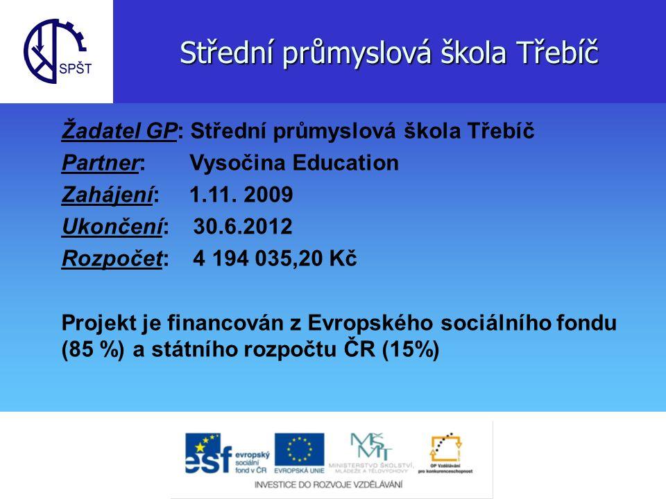 Střední průmyslová škola Třebíč Žadatel GP: Střední průmyslová škola Třebíč Partner: Vysočina Education Zahájení: 1.11.