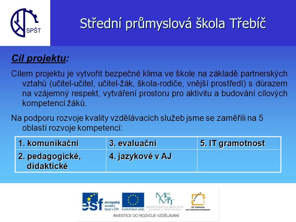 Střední průmyslová škola Třebíč Cíle dosáhneme: - vzděláním pedagogů - vytvořením metodických a výuk.