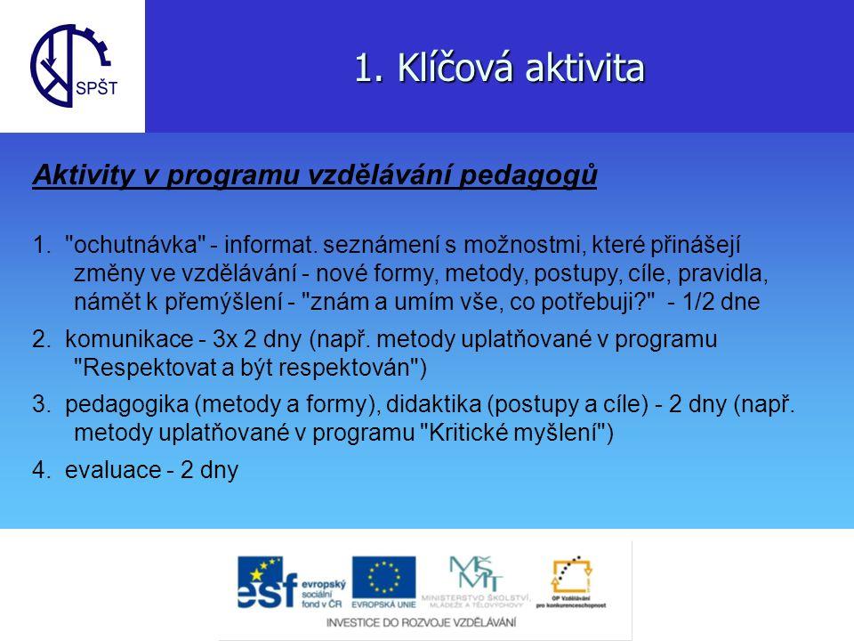 1.Klíčová aktivita 5. exkurze do pilotní školy v Chrudimi - 2 dny 6.