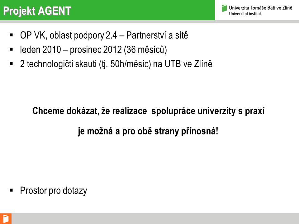 Projekt AGENT  OP VK, oblast podpory 2.4 – Partnerství a sítě  leden 2010 – prosinec 2012 (36 měsíců)  2 technologičtí skauti (tj.
