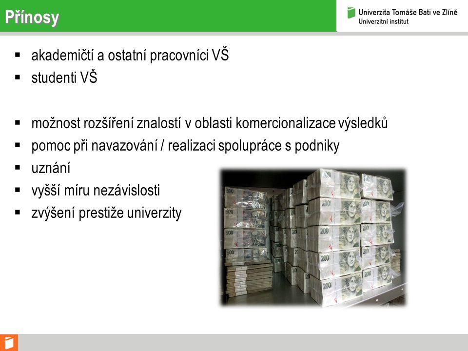 Přínosy  akademičtí a ostatní pracovníci VŠ  studenti VŠ  možnost rozšíření znalostí v oblasti komercionalizace výsledků  pomoc při navazování / realizaci spolupráce s podniky  uznání  vyšší míru nezávislosti  zvýšení prestiže univerzity