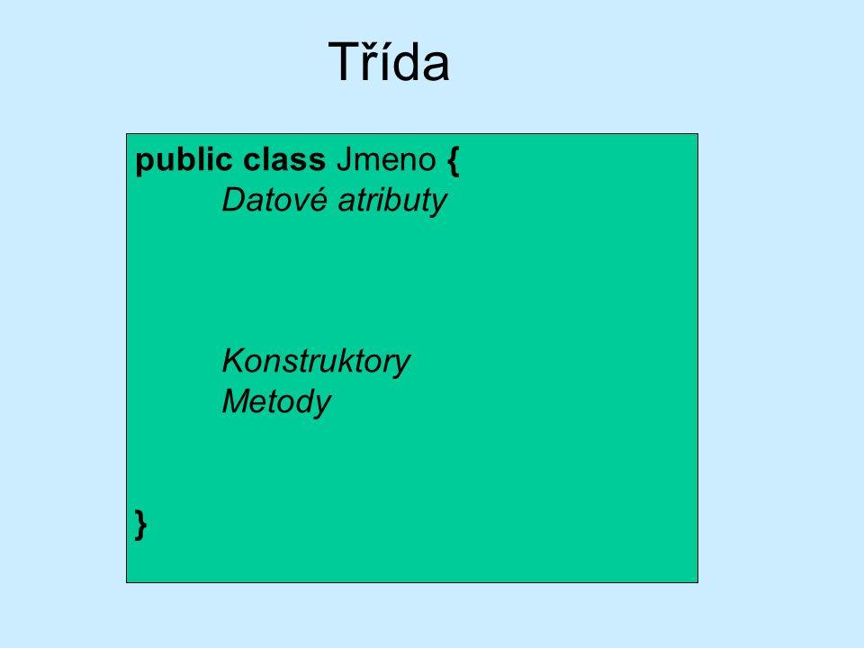 public class Jmeno { Datové atributy Statické proměnné Statický inicializační blok Statické metody Konstruktory Metody Vnitřní třídy Statické vnitřní třídy } Třída