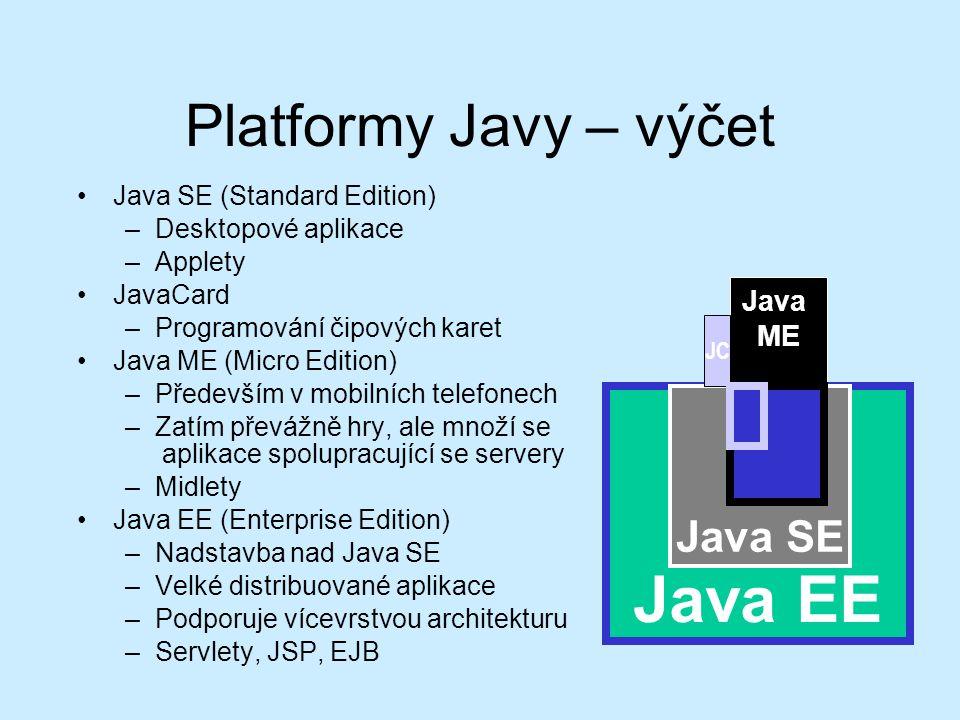 Platformy Javy – výčet Java SE (Standard Edition) –Desktopové aplikace –Applety JavaCard –Programování čipových karet Java ME (Micro Edition) –Především v mobilních telefonech –Zatím převážně hry, ale množí se aplikace spolupracující se servery –Midlety Java EE (Enterprise Edition) –Nadstavba nad Java SE –Velké distribuované aplikace –Podporuje vícevrstvou architekturu –Servlety, JSP, EJB Java EE Java SE Java ME JC