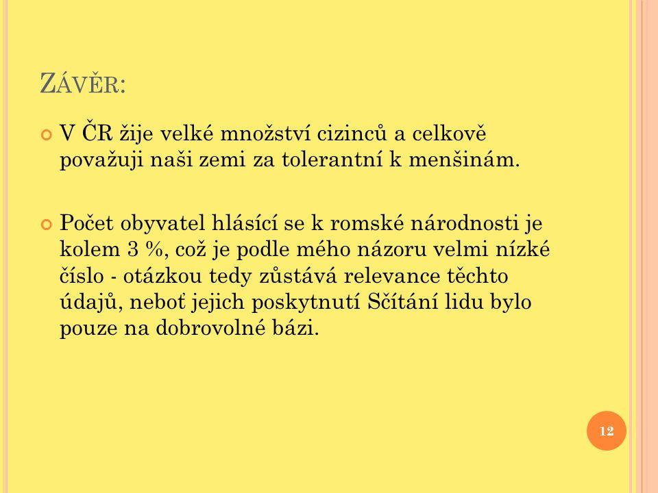 Z ÁVĚR : V ČR žije velké množství cizinců a celkově považuji naši zemi za tolerantní k menšinám.