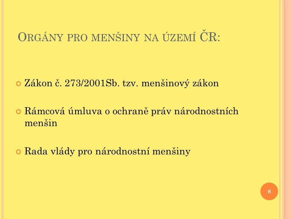 O RGÁNY PRO MENŠINY NA ÚZEMÍ ČR: Zákon č. 273/2001Sb.