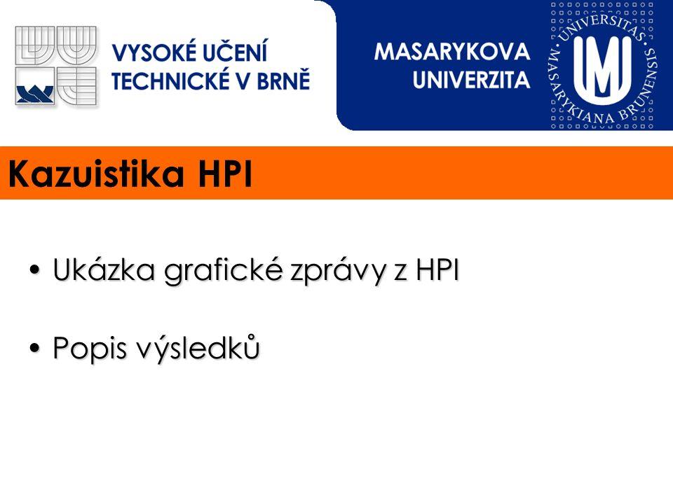 Kazuistika HPI Ukázka grafické zprávy z HPI Ukázka grafické zprávy z HPI Popis výsledků Popis výsledků