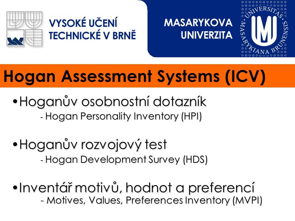 Hogan Assessment Systems (ICV) Hoganův osobnostní dotazníkHoganův osobnostní dotazník - Hogan Personality Inventory (HPI) Hoganův rozvojový testHoganův rozvojový test - Hogan Development Survey (HDS) Inventář motivů, hodnot a preferencí - Motives, Values, Preferences Inventory(MVPI)Inventář motivů, hodnot a preferencí - Motives, Values, Preferences Inventory (MVPI)