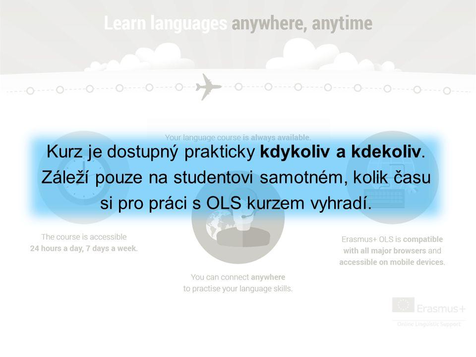 Kurz je dostupný prakticky kdykoliv a kdekoliv. Záleží pouze na studentovi samotném, kolik času si pro práci s OLS kurzem vyhradí.