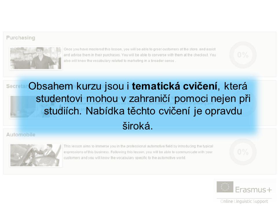 Obsahem kurzu jsou i tematická cvičení, která studentovi mohou v zahraničí pomoci nejen při studiích.