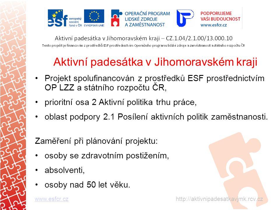 Aktivní padesátka v Jihomoravském kraji Projekt spolufinancován z prostředků ESF prostřednictvím OP LZZ a státního rozpočtu ČR, prioritní osa 2 Aktivní politika trhu práce, oblast podpory 2.1 Posílení aktivních politik zaměstnanosti.