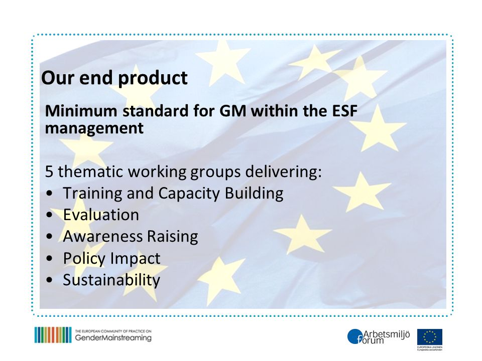 Our end product Minimum standard for GM within the ESF management 5 thematic working groups delivering: Training and Capacity Building Evaluation Awareness Raising Policy Impact Sustainability