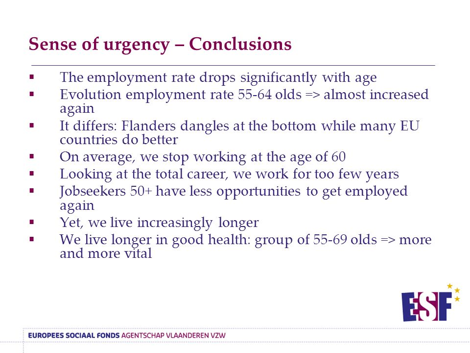 Sense of urgency – Conclusions  The employment rate drops significantly with age  Evolution employment rate 55-64 olds => almost increased again  It differs: Flanders dangles at the bottom while many EU countries do better  On average, we stop working at the age of 60  Looking at the total career, we work for too few years  Jobseekers 50+ have less opportunities to get employed again  Yet, we live increasingly longer  We live longer in good health: group of 55-69 olds => more and more vital