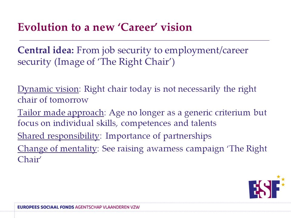 Evolution to a new 'Career' vision Central idea: From job security to employment/career security (Image of 'The Right Chair') Dynamic vision: Right chair today is not necessarily the right chair of tomorrow Tailor made approach: Age no longer as a generic criterium but focus on individual skills, competences and talents Shared responsibility: Importance of partnerships Change of mentality: See raising awarness campaign 'The Right Chair'