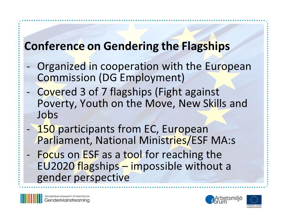 Conference on Gendering the Flagships -Organized in cooperation with the European Commission (DG Employment) -Covered 3 of 7 flagships (Fight against Poverty, Youth on the Move, New Skills and Jobs -150 participants from EC, European Parliament, National Ministries/ESF MA:s -Focus on ESF as a tool for reaching the EU2020 flagships – impossible without a gender perspective