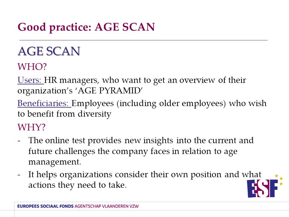 Good practice: AGE SCAN AGE SCAN WHO.