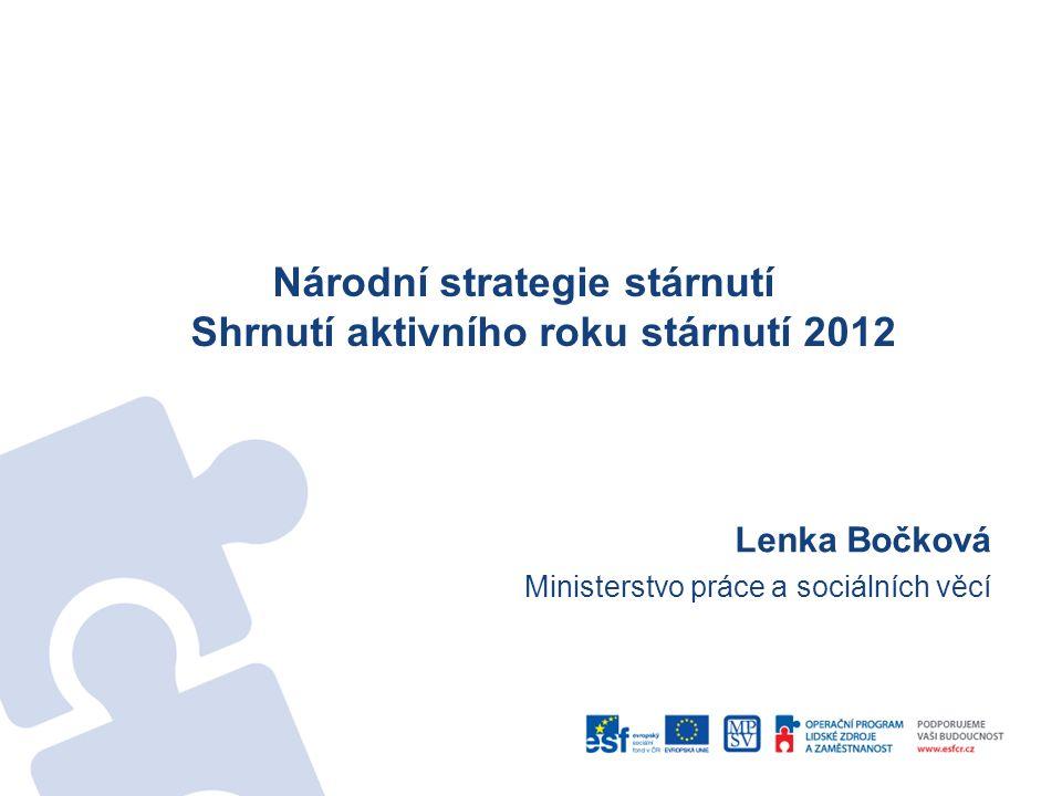 Národní strategie stárnutí Shrnutí aktivního roku stárnutí 2012 Lenka Bočková Ministerstvo práce a sociálních věcí