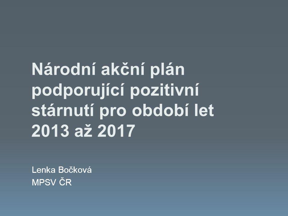 Národní akční plán podporující pozitivní stárnutí pro období let 2013 až 2017 Lenka Bočková MPSV ČR