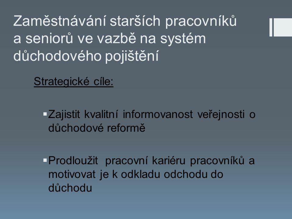 Strategické cíle:  Zajistit kvalitní informovanost veřejnosti o důchodové reformě  Prodloužit pracovní kariéru pracovníků a motivovat je k odkladu odchodu do důchodu
