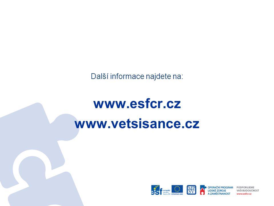 Další informace najdete na: www.esfcr.cz www.vetsisance.cz
