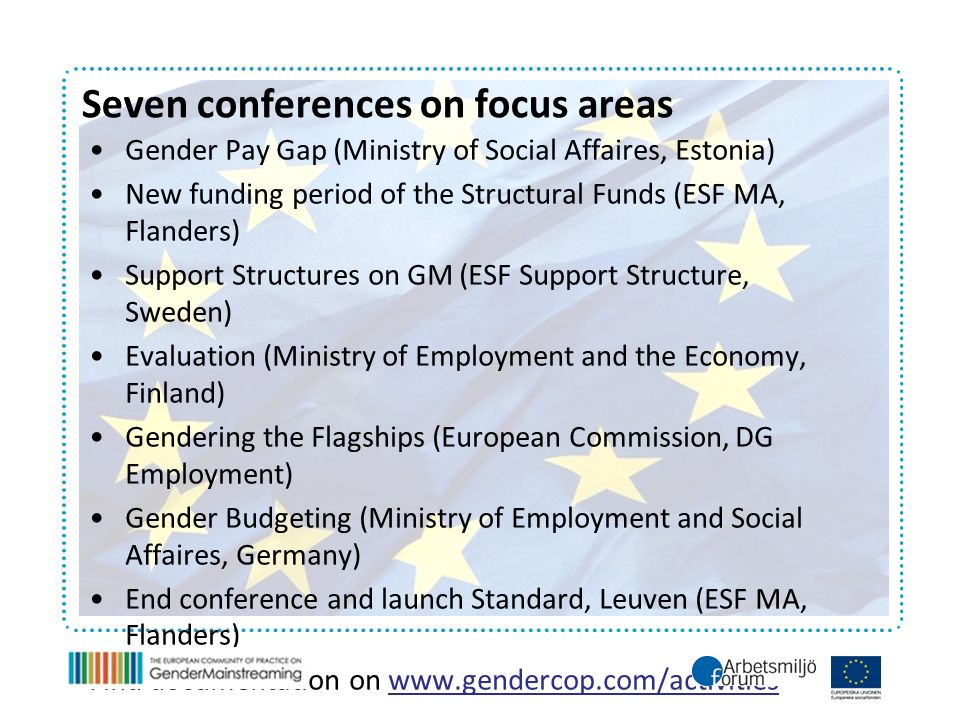 Gender Pay Gap (Ministry of Social Affaires, Estonia) New funding period of the Structural Funds (ESF MA, Flanders) Support Structures on GM (ESF Support Structure, Sweden) Evaluation (Ministry of Employment and the Economy, Finland) Gendering the Flagships (European Commission, DG Employment) Gender Budgeting (Ministry of Employment and Social Affaires, Germany) End conference and launch Standard, Leuven (ESF MA, Flanders) Find documentation on www.gendercop.com/activities Seven conferences on focus areas