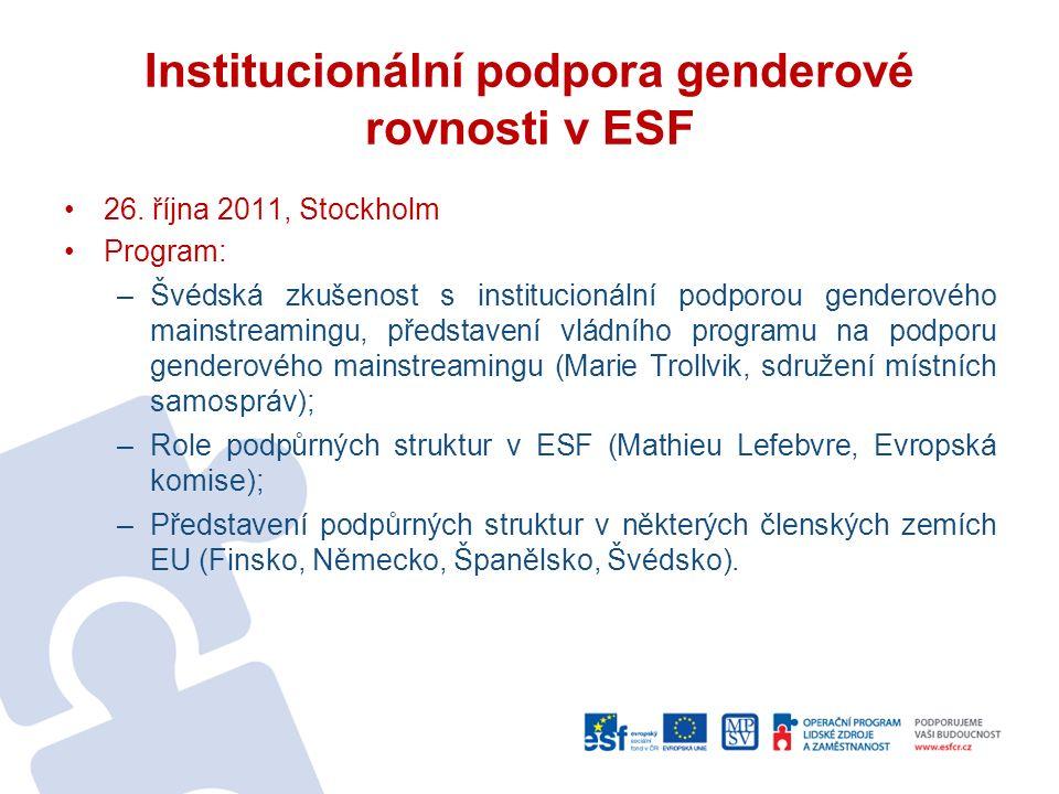 Institucionální podpora genderové rovnosti v ESF 26.